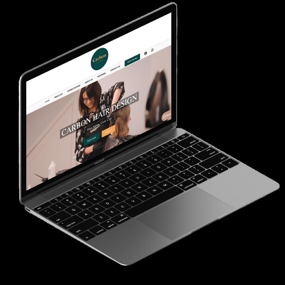 new salon website display